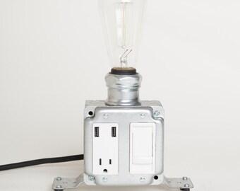 USB Desk Lamp with Dimmer, Industrial Modern USB Desk/ USB charging station lamp. White Model