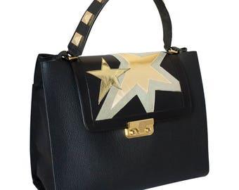 Black handbag-handbag leather handmade and customizable