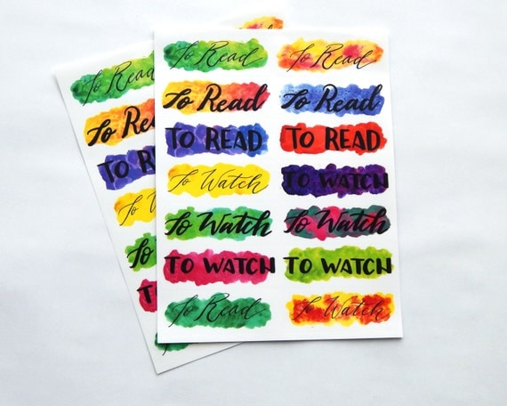 14 - Book / Movie / Show Header Stickers - Hand Lettered Full Water Color Planner or Bullet Journal Stickers Transparent Glossy (14E)