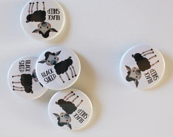 5-pack Black Sheep Pin Button, Non-Candy Easter Treat, Flair, Pinback Button