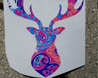 Lilly Inspired Deer Head Vinyl Decal