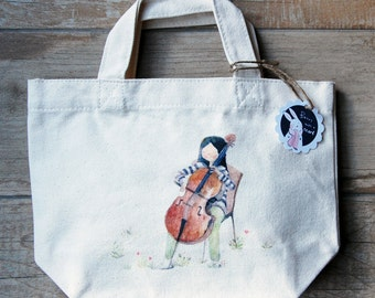Watercolor illustration printed tote bag, small canvas bag, lunch bag