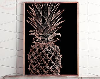 Rose Gold Printable Pineapple Wall Art, Pineapple Print Art, Pineapple Decor, Pineapple Print, Wall Print Pineapple, Pineapple Poster