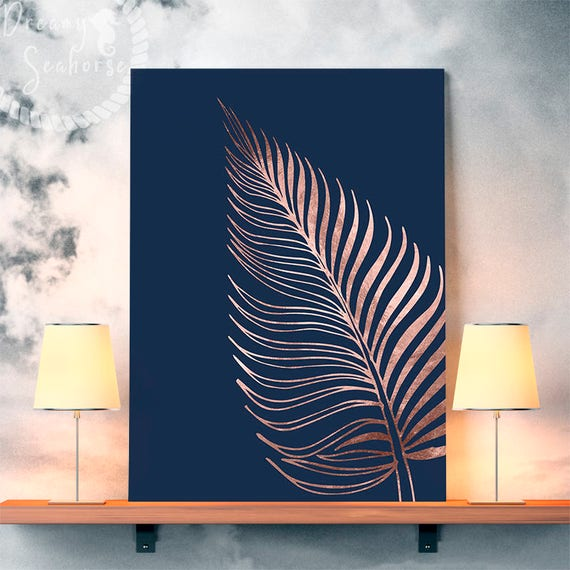 Printable Rose Gold Wall Decor Rose Gold Bedroom Decor Fern