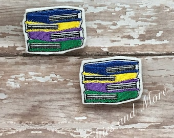 Stack of Books Feltie / Set of Two Book Stack Embroidered Cut Felties/Pre Cut Felties/Bow Supply/ Bow Center/ Embellishment