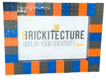 Picture Frame - Orange/Blue/Gray - Authentic 2x3 LEGO Bricks