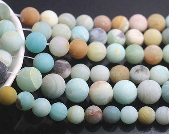 4mm 6mm 8mm 10mm 12mm 14mm Matte Multicolor Amazonite Beads, Natural Round Beads,15 ''One Strand