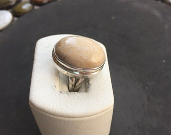 Silver and fossil coral ring