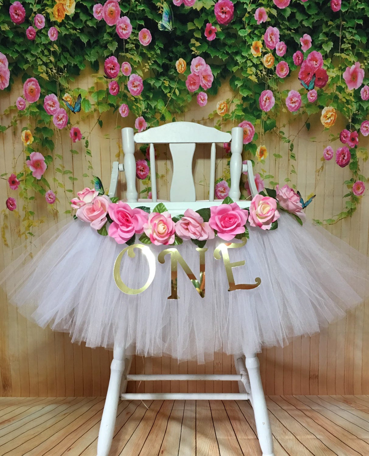 I Am One Pink And Gold Birthday Party Decorations One High: High Chair Tutu Highchair Tutu Skirt Pink And White