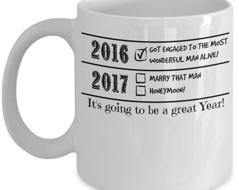 """Engagement Mug - Engagement Gift For Her Saying """"2017 Is Going To Be A Great Year"""" - Coffee Mug"""