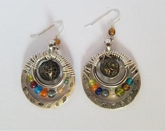 Boho wire wrapped hoops dangle earrings