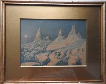 antique miniature gilt framed and glazed blue&white  print