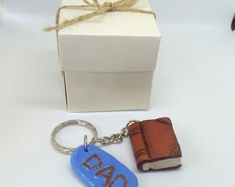 Polymer clay book keychain, Dad, Father's day, Gift