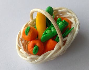 Miniature, Dolls house, Fruit/vegetables basket, Gift, Decoration,
