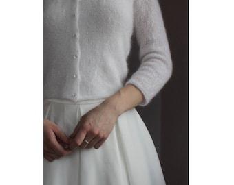 Bridal Fluffy Bolero, Wedding Kate Middleton Sweater, Off White Ivory Ecru Mohair Knit Shrug, Wedding Cardigan, 3/4 Sleeve, Cover Up Mohair