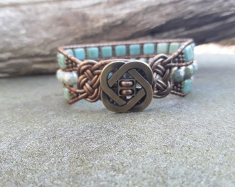 Leather Wrap Cuff Bracelet with Opalescent Green Czech Beads