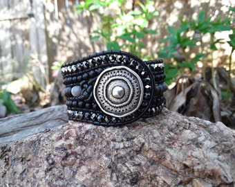 5 Row Leather Wrap Cuff Bracelet with Black Beads