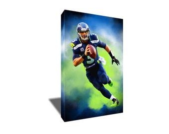 FREE SHIPPING Seattle Seahawks Stud Russell Wilson Portrait Canvas Art
