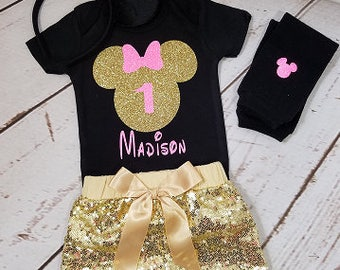 Minnie Mouse Birthday Outfit, Girls Birthday Outfit, Gold and Pink Birthday Outfit, Sequin Shorts Birthday Outfit