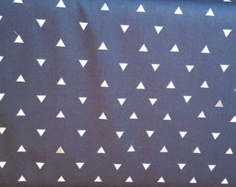 Navy Blue with White Triangle print 100% cotton fabric Diaper Changing Pad Cover