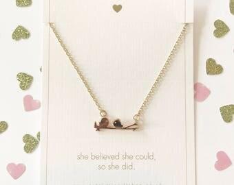 Love Birds Necklace - Gold