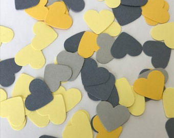 Yellow and Grey Heart Confetti - 200 pieces - Bridal Shower Confetti - Wedding Confetti - Table Decorations - Yellow and Grey Wedding