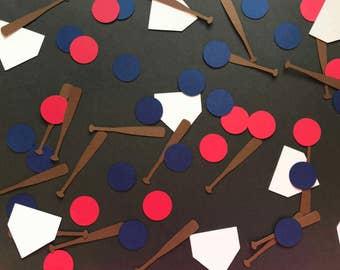 Baseball Confetti - Baseball Bat, Bases, and Red and Blue Dot Confetti - Baseball Decorations - Baseball Birthday Decorations - Boy Birthday