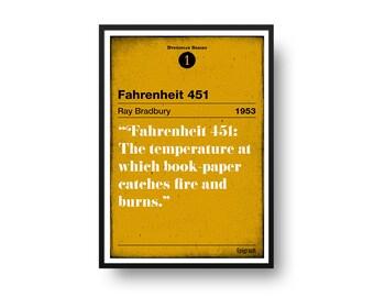 Fahrenheit 451 Poster  (Ray Bradbury) – Dystopian Series Number 1