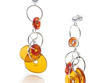 FREEVOLA earrings, glass and sterling silver earrings