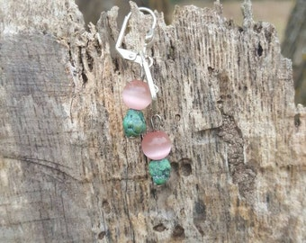 Turquoise and Pink Catseye pierced earrings