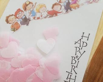 Happy birthday card and party confetti Pink & White hearts