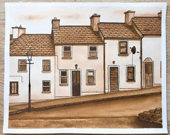 Original illustraition Ink illustration Dublin Ireland Monochrome drawing Monochrome painting Streetview Architecture