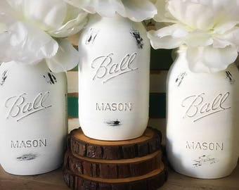 White Mason Jars, Painted Mason Jars, White, Spring Decor, Wedding Centerpiece, Baby Shower Centerpiece, Housewarming Gift, White Jars