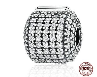 Glamorous Pave Barrel Clip Charm Bead 100% Real 925 Sterling Silver Fit Pandora, Snake Chain Bracelet, DIY Jewelry