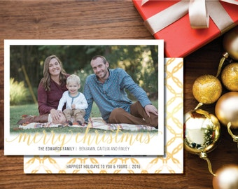 Merry Christmas Printable Christmas Card. Two-sided. Gold and White. Holiday Card.