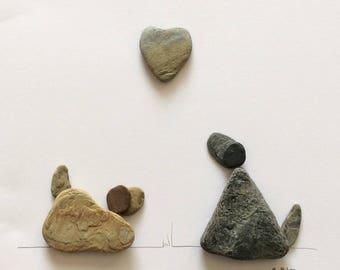 Puppy Love - 8x8 inch Beach Art by Britt Loe, Cornwall. Free UK Shipping.