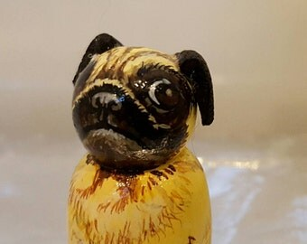 Peg doll 3.2cm Miniature pug dog animal figure, customised likeness of your pet