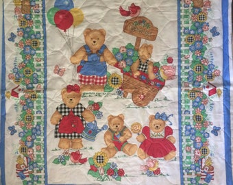 Spring Industries Baby Quilt Fabric Panel Bears in Garden Unfinished project