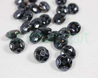 """TWELVE Vintage Gunmetal Metallic 12mm 1/2"""" Czech Glass Buttons Lot"""