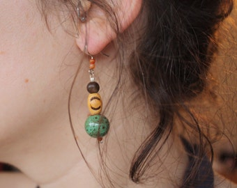 Ceramic and wood earrings