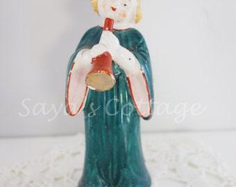 Vintage 1940's Choir girl with a bugle /Porcelain  Ceramic choir collectible figurine figure Japan Japanese  hand painted Christmas decor