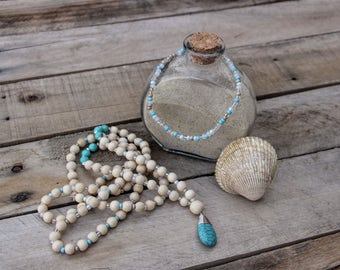 Beach Inspired Mala Necklace and Anklet