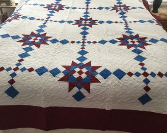Red, white blue , king quilt.  102x96.