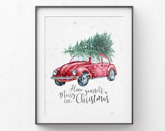 Christmas Decor Wall Art Print, Retro Vintage Car Have Yourself a Merry Little Christmas, Printed on Archival Paper, Watercolor Teacher Gift