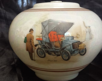 Lusterware parlor lamp globe with applied antique automobiles
