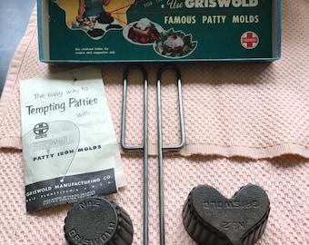 Vintage Griswold Cast Iron No 2 Patty Mold Set Deep