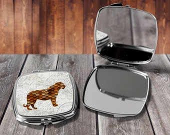 Copper Tiger Compact mirror, Make up mirror, Pocket mirror, Hand Mirror, Purse Mirror, Birthday gift, Gift for her
