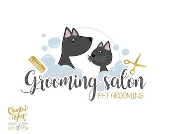 Premade Logo Grooming Salon | Dog / Cat Logo design | Pet logo CNLO1602