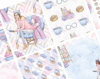 Bookworm Chic | Weekly Kit | Planner Stickers | Booklover | Watercolor | Full Boxes | Erin Condren | Happy Planner