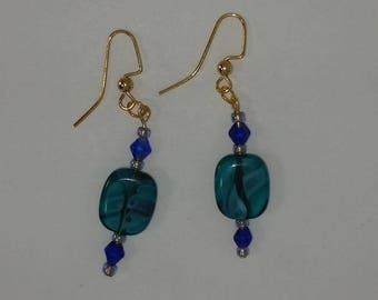 Custom hand made earrings turquoise blue glass swirl with cobalt